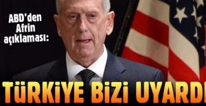 ABD Savunma Bakanı Mattis: Türk Yetkililer Suriye'nin Kuzeyini Vurmadan Önce Bizi Uyardı