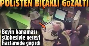 Gaziantep'te bir polis tartıştığı genci bıçakla tehdit edip gözaltına aldı