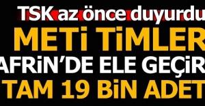 TSK az önce duyurdu! METİ Timleri Afrin'de ele geçirdi!