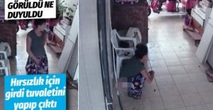 Hırsızlık için girdi tuvaletini...