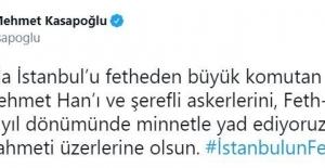 Bakan Kasapoğlu'ndan, İstanbul'un fethinin yıl dönümüyle ilgili paylaşım