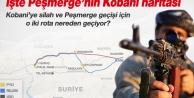 Peşmergenin Kobaniye olası geçiş rotaları