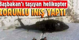 Başbakan Binali Yıldırım'ı taşıyan helikopter araziye indi