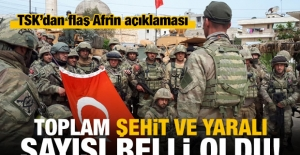 TSK, Afrin'de şehit ve yaralı sayısını açıkladı!
