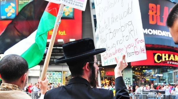 Tımes Meydanı'ndaki İsrail Protestosuna Yahudiler De Destek Verdi