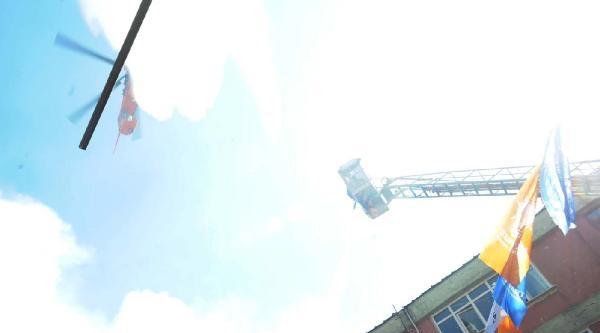 Tophane'deki Yangına Helikopterli Müdahale