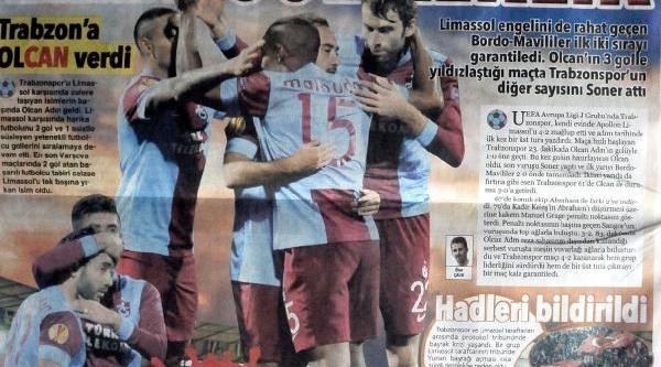 Trabzonpor'a Yerel Gazetelerden Övgü
