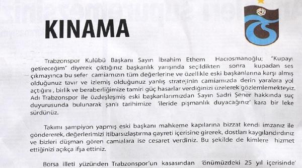 Trabzonspor Gönüllüleri Platformu'ndan Hacıosmanoğlu'na Kınama