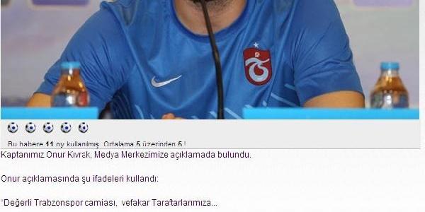 Trabzonspor Kaptani Onur: Köklerine Hak Ettiği Saygiyi Duymayan Yapilar Yaşayamaz