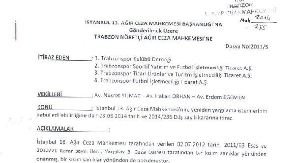 Trabzonspor Yeniden Yargılama Kararına Resmen İtiraz Etti