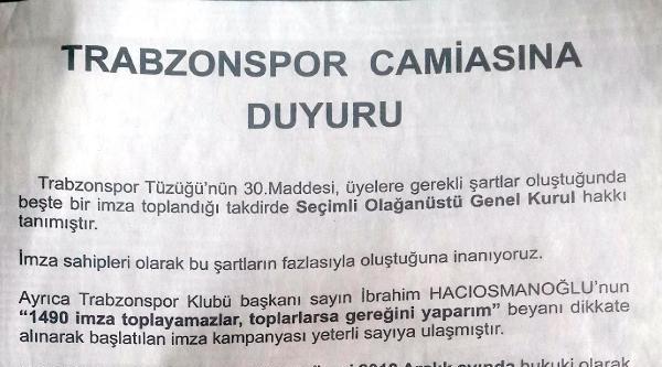 Trabzonspor'da Muhalefetten Kongre Çağrisi