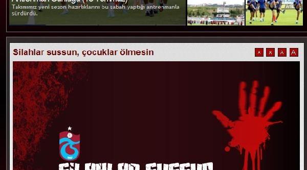 Trabzonspor'dan Çağri: Silahlar Sussun Çocuklar Ölmesin