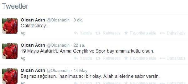 Trabzonsporlu Olcan'ın Twitter Hesabında