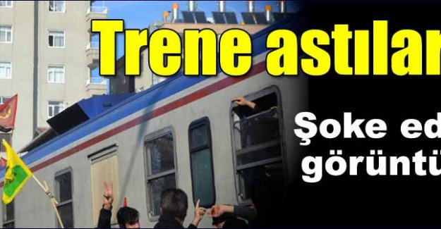 Trene PKK flaması astılar
