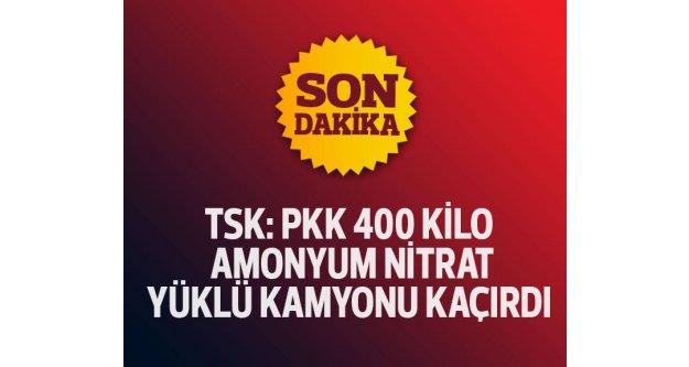TSK: PKK'lılar Silopi'de 400 kilo patlayıcı yüklü kamyonu kaçırdı