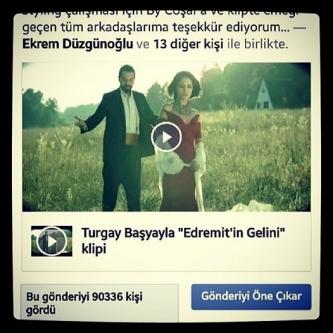 """Turgay Başyayla """"Edremit'in Gelini"""" klibini 48 saatte 100 bin kişi izledi..."""