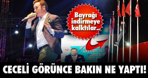 Türk bayrağını indirmeye çalışınca...