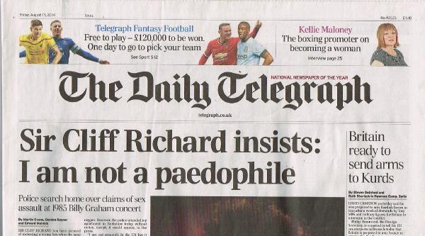 Ünlü Şarkici Clıff Rıchard Pedofil Olduğu İddialarini Reddetti
