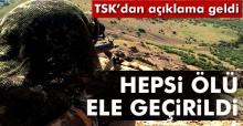"""TSK: """"Tunceli Aliboğazı'nda 8 terörist ölü olarak ele geçirildi"""""""