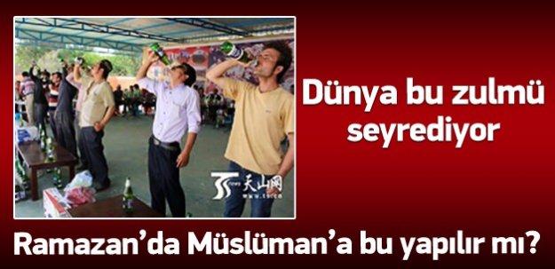 Uygurlara Ramazanda zorla içki içirildi