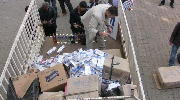 Viranşehir'de Kaçak Sigara Ve Içki Ele Geçirildi