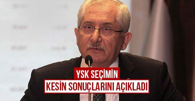 YSK seçimin kesin sonuçlarını açıkladı