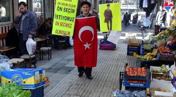 Zonguldak'ta Tek Kişilik 'ön Seçim' Eylemi